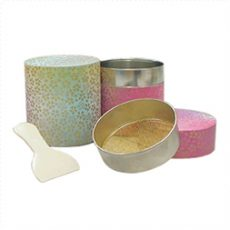 抹茶篩缶 和紙和染 (標準仕様(緑・ピンク))